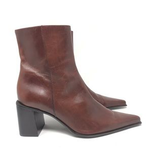 Nine West Brown Cognac Leather Heel Ankle Boots 7